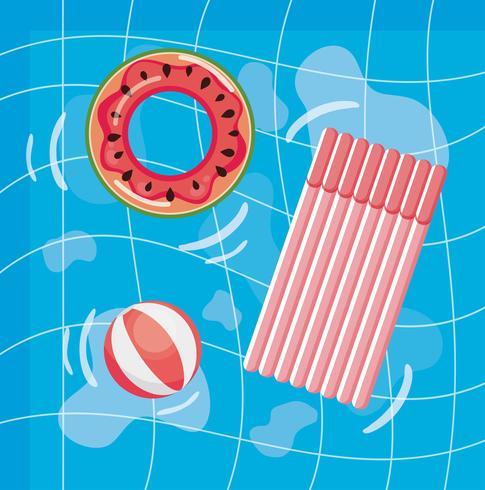 Luchtfoto van zwembad met watermeloen vlotter en vlot