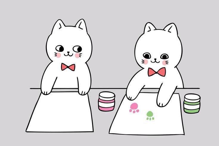 gato de regreso a la escuela y pintura