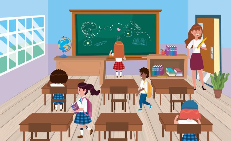 Zurück von den Schülern im Klassenzimmer mit Lehrer