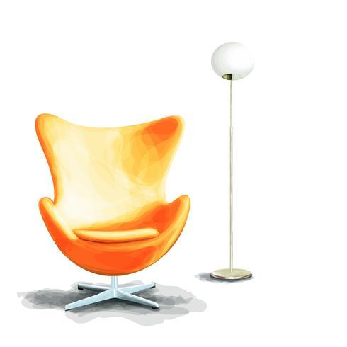 Peinture à l'aquarelle intérieure avec chaise et lampe