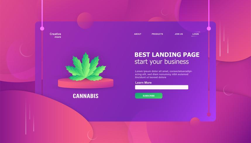 Elemento de hoja de cannabis en plantilla de página de destino