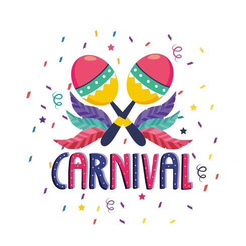 Affiche de carnaval avec des maracas et des confettis