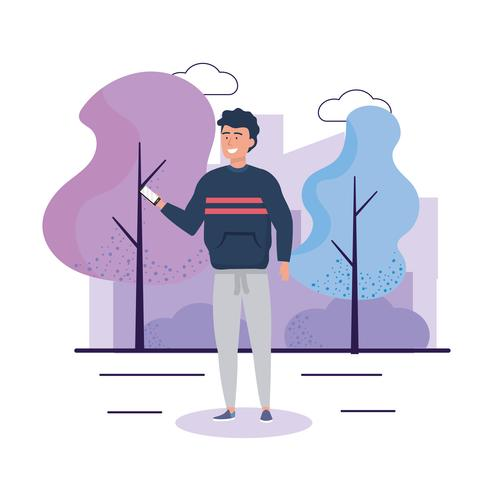 Young man in sweater taking selfie outside vector