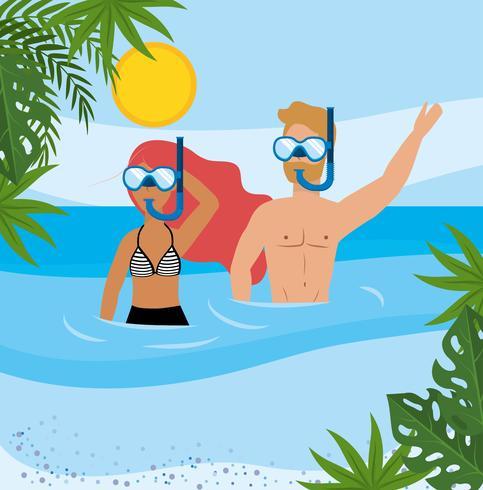 Woman and man snorkeling at beach  vector