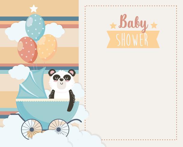 Tarjeta de Baby Shower con panda en carro con globos vector