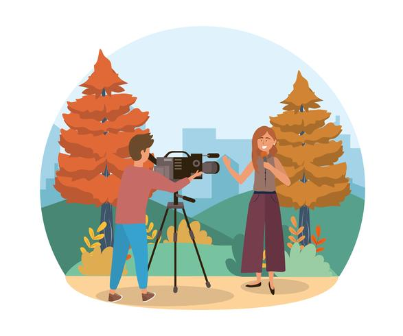 Female reporter talking with cameraman in urban park  vector