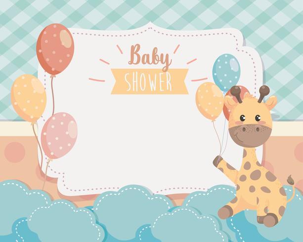 Cartão de chuveiro de bebê com girafa e balões