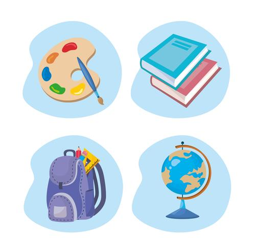 Set of school objects