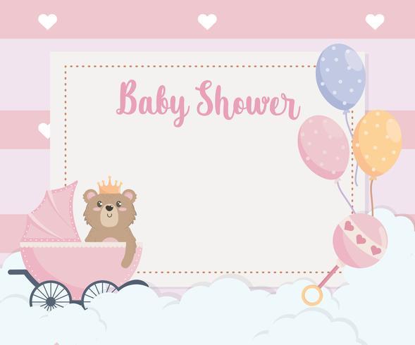 Cartão de chuveiro de bebê com urso de pelúcia na carruagem