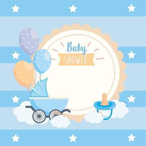 Etichetta per baby shower con carrello, ciuccio e palloncini