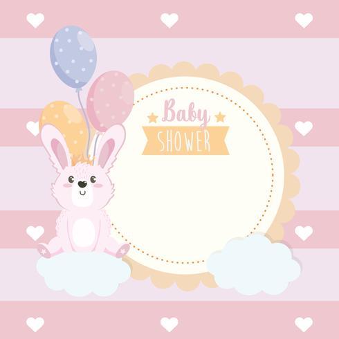 Baby shower label met konijn met ballonnen
