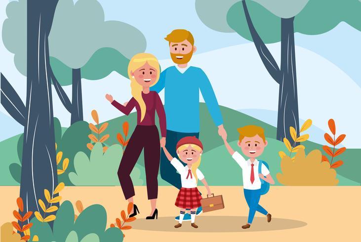 Pai e mãe com menina e menino indo para a escola