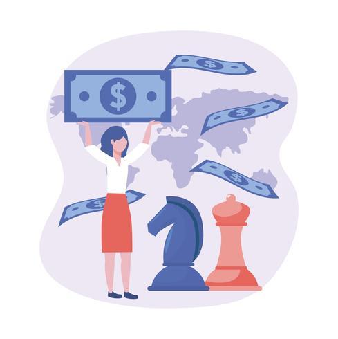 Geschäftsfrau, die Geld mit Schachfiguren und Karte hält