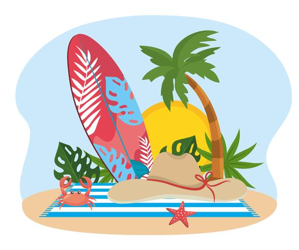 Tabla de surf con sombrero y toalla cerca de palmera