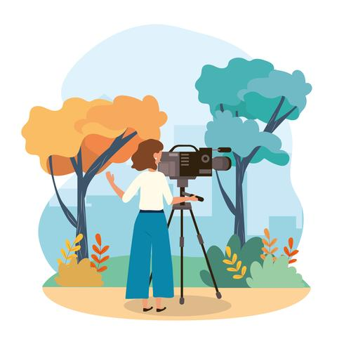 Camerawoman recording video in urban park  vector