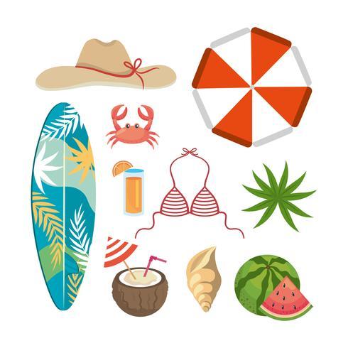 Insieme di oggetti ed elementi di vacanze estive