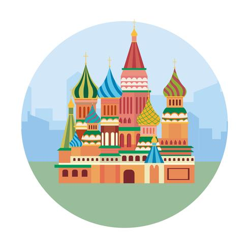 Rode vierkante gebouwen in Moskou