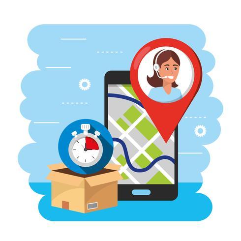 Seguimiento de ubicación de gps en teléfonos inteligentes con agente de call center vector