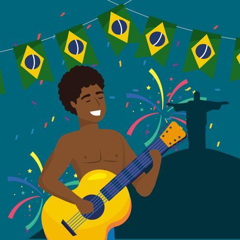 Músico de carnaval masculino con guitarra en la noche vector
