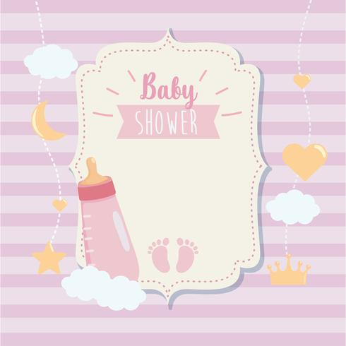 Baby shower label with bottle and footprint