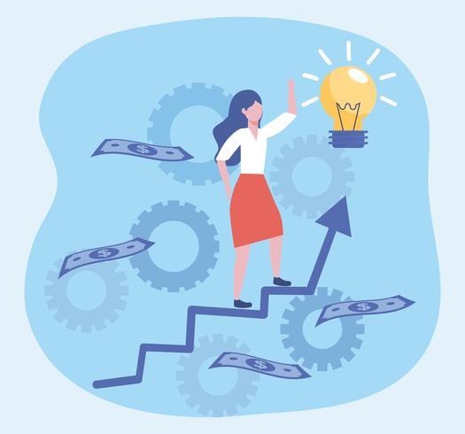 Geschäftsfrau, die herauf Pfeil und Ideenbirne geht