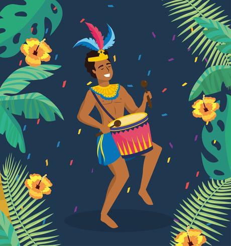 Musicista maschio di carnevale con tamburi e piante