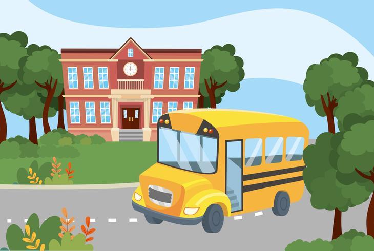 Scuolabus fuori dalla scuola