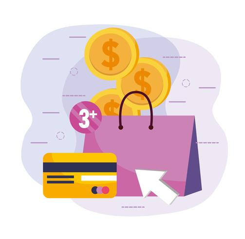 Sac à provisions avec carte de crédit et pièces de monnaie