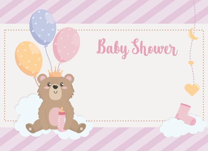 Babypartykarte mit dem Teddybären, der Ballone auf Wolken hält