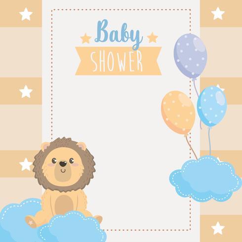 Tarjeta de Baby Shower con león en las nubes con globos vector