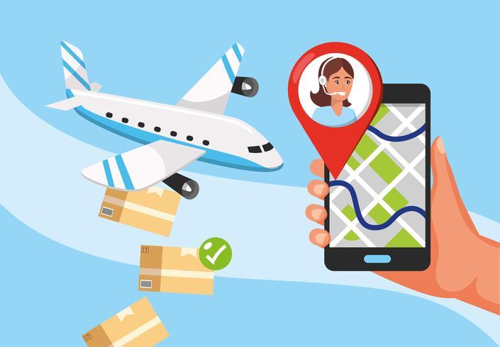 Vliegtuig laten vallen pakketten en hand met smartphone gps