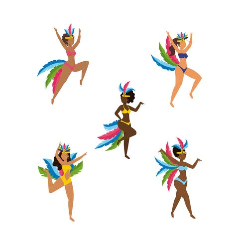 Set of female carnival dancers in costume