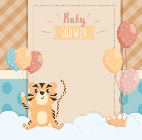 Tarjeta de Baby Shower con tigre con globos
