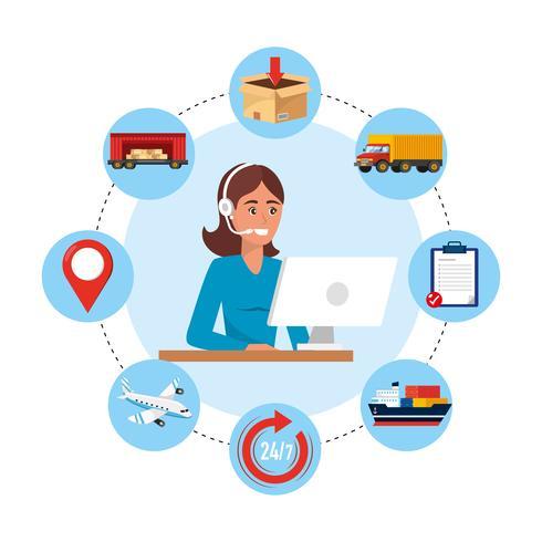 Agente de call center feminino com objetos de serviço de computador e entrega vetor