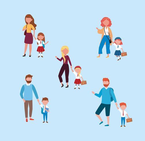 Conjunto de madres y padre con hijos en uniformes escolares
