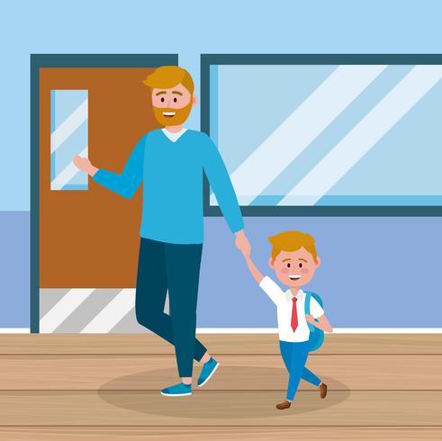 Vader en zoon in gang op school
