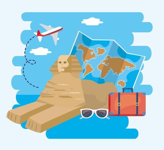 Egyptisk sfinks med global karta och resväska