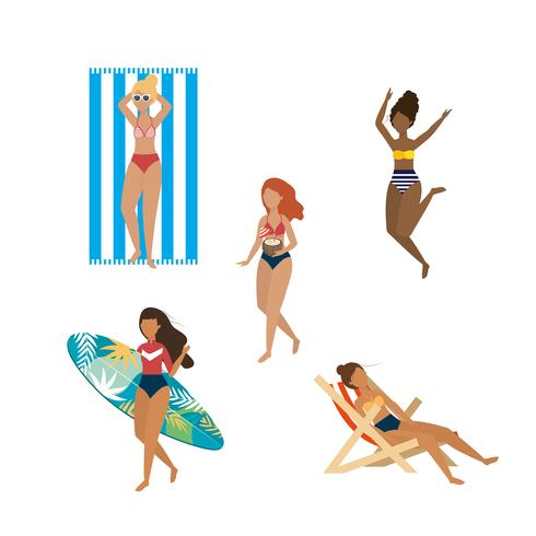 Set of diverse women in bathing suits at beach