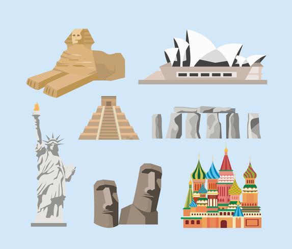 Set of famous destination landmarks