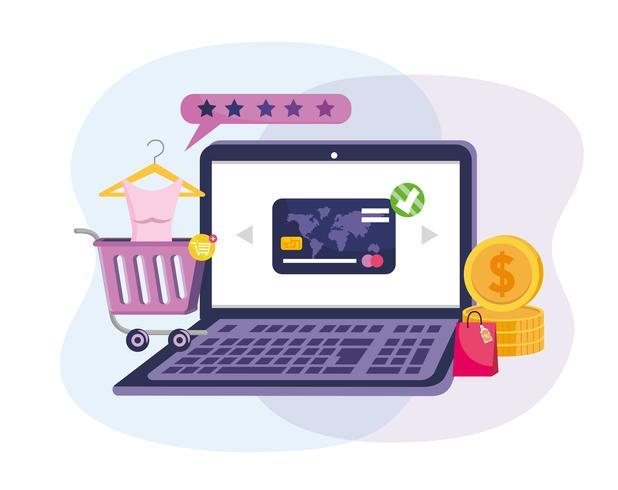 Laptop online einkaufen mit Kreditkarte und Warenkorb