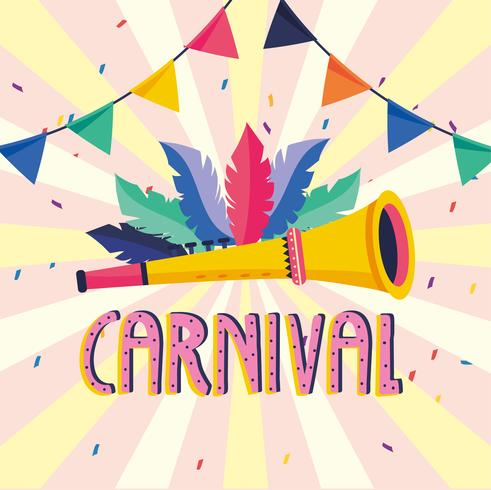 Carnival poster with trumpet and feathers