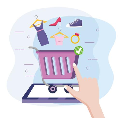 Tableta de compras en línea con carrito y mercancía
