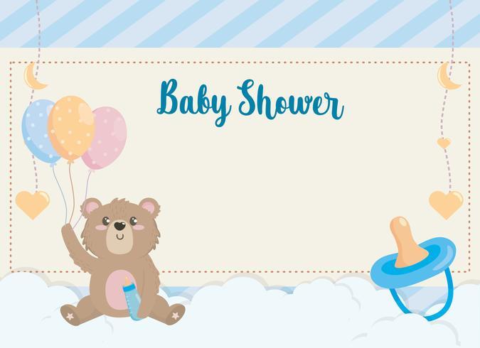 Scheda dell'acquazzone di bambino con l'orsacchiotto che tiene i palloni