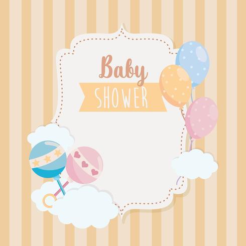 Baby shower label met rammelaars en ballonnen