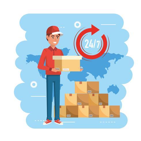 Uomo di consegna con scatola e pila di pacchi