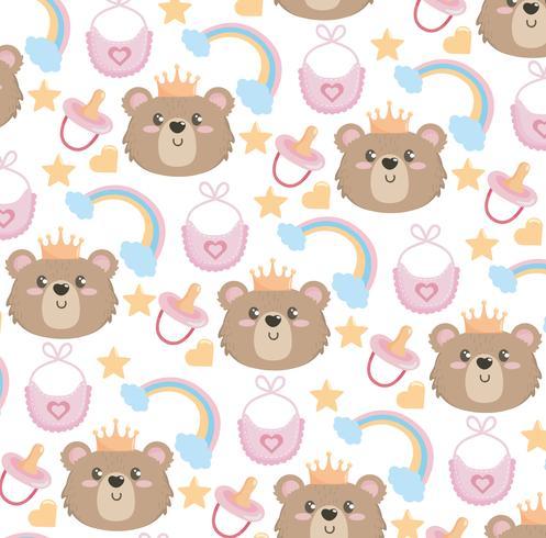 Naadloze achtergrond met teddybeergezichten en regenbogen