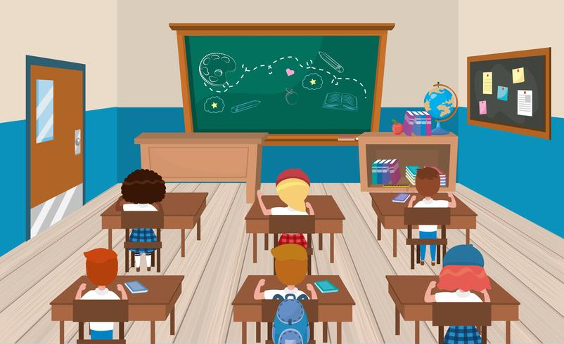 Students at desks in classroom