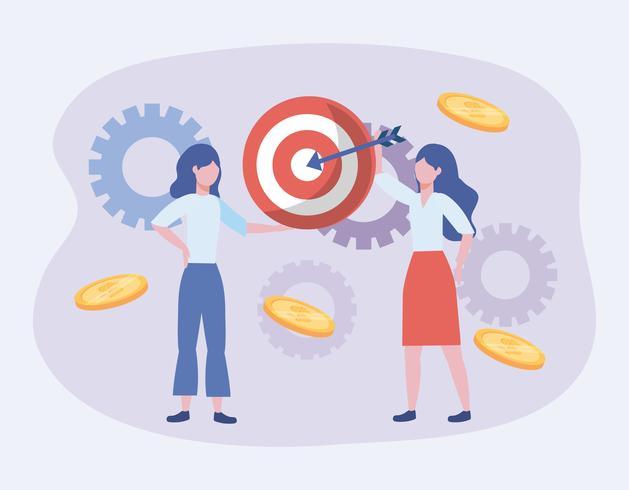 Geschäftsfrauen mit Ziel und Gängen