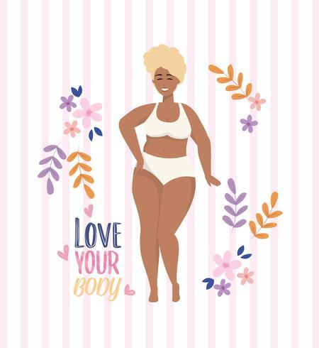 Houd van uw lichaamsboodschap met Afrikaanse Amerikaanse vrouw in onderkleding