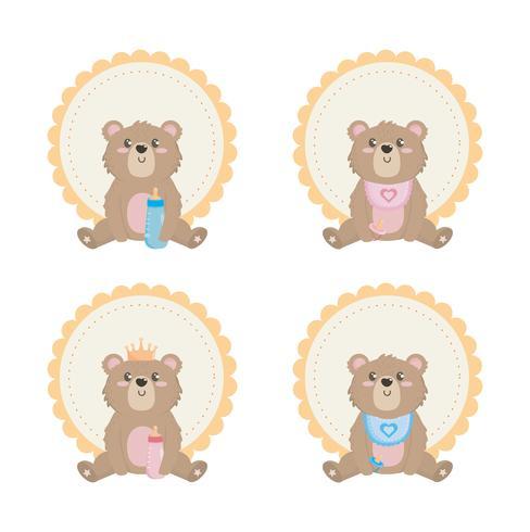 Set teddybeer etiketten